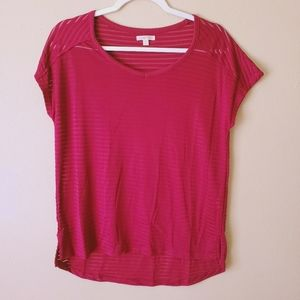 North Crest Maroon Striped Short Sleeve Top Small